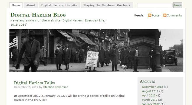 The Digital Harlem blog (click here to visit)