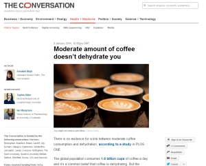 Generic image of Coffee used to guide visitors to a blog post about moderate drinking and dehydration (The Conversation, 9 January 2014) - click on the image to go to the article.