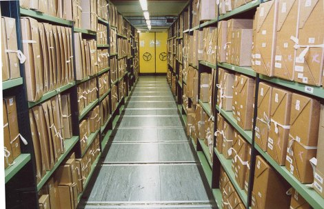 Documents_stacks_in_a_repository_at_The_National_Archives